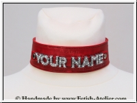 Neckband with rhinestone letters